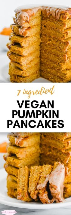 Vegan pumpkin pancakes are sweet, spiced, and the perfect special breakfast for a fall weekend! Made with just 7 healthy ingredients and naturally sweet. #veganpumpkinpancakes #pumpkinpancakes #healthypumpkinpancakes #pumpkin #pumpkinspice #veganpancakes #healthyveganbreakfast