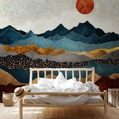 Dreaming of escaping to the mountains. Natured inspired design with an abstract twist will help you create that blissful escape you need after a long work week 😍 Find your @spacefrogdesigns mural and more bedroom design inspiration on the Wallsauce.com Instagram! #naturelovers #rusticdecor #bedroomdecor Nature Inspired Bedroom, Bedroom Design Inspiration, Beautiful Bedrooms, Rustic Decor, Bedroom Decor, Tapestry, Work Week, Mountains, Abstract