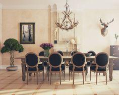sillas negras para el comedor moderno