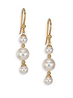 Majorica 5MM-8MM White Pearl Triple-Drop Earrings