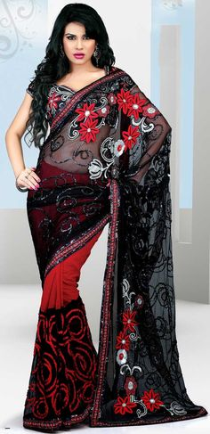 Black and Red Faux Georgette With Net Embroidered Saree - IG7041 USD $ 107.96