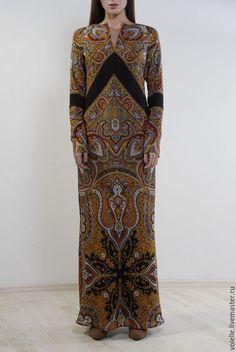 Купить Платье в пол из платка, платье длинное вечернее в русском стиле - платье, платья