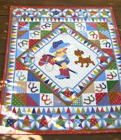 Cowboy Quilt baby boy quilt vintage baby quilt by BlackTulipQuilts, $130.00