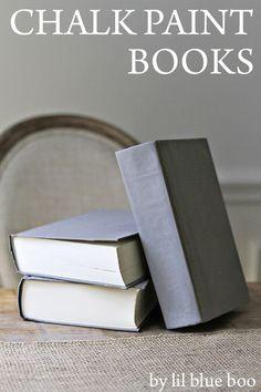 How to Make Chalk Paint Books via lilblueboo.com #diy #decor #homedecor #anniesloan  (annie sloan chalk paint tutorial)
