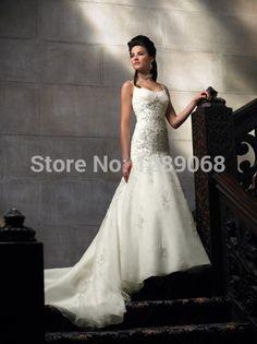 Free Shipping 2014 HOT New White or Ivory Elegant Sleeveless Mermaid Wedding Dress Size 2-4-6-8-10-12-14-16-18-20+ or custom