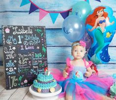 Little mermaid 1st birthday cake smash.