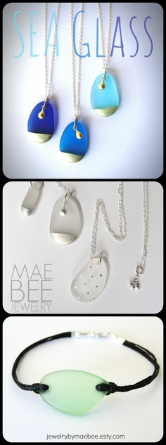 #Seaglass! Necklaces and bracelets from JewelryByMaeBee on #Etsy. #sfetsy www.jewelrybymaebee.etsy.com