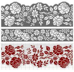 Cross Stitch Bookmarks, Cross Stitch Borders, Crochet Borders, Filet Crochet, Cross Stitch Designs, Cross Stitch Embroidery, Cross Stitch Patterns, Crochet Basket Pattern, Knitting Charts