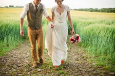 wedding portrait in a field