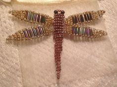 Beaded dragonfly - gold, purple, white - handmade from bugles and quality Japanese seed beads. Inc. cream organza gift bag. on Etsy, $9.95 AUD