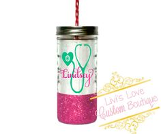 Personalized nursing Mason Jar You choose glitter color as well as the Stethoscope color! (The name will match the glitter by default unless specifically requested.) ____________________________________________________________________ ♥ 24oz solid glass mason jar ♥ Metal twist on lid ♥ Please do not microwave ♥ Hand wash & pat or air dry ♥ Glitter is sealed (twice!) so it will not flake ♥ Made with high quality outdoor grade permanent vinyl. ♥ Please do not pick or scratch at the design....
