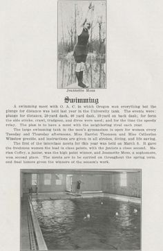 UO women's swimming 1916-17.  From the 1918 Oregana (UO yearbook).  www.CampusAttic.com