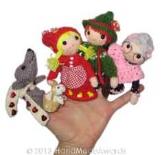 LITTLE Red Riding Hood Finger Puppets PDF Email knit PATTERN, via Etsy.