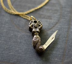 Mermaid Pocket Knife Necklace  Limited Edition by contrary on Etsy, $45.00
