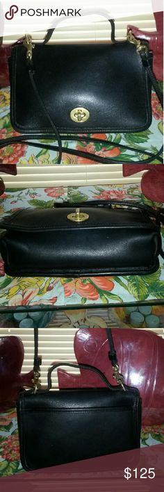 """COACH Vintage Very Rare """"CASINO BAG""""made in USA Small bag for a nite out in beautiful Vintage condition for a 1995 bag, 17 years old!! No spots, stains or scuffs. 8in wide x 6in tall and 2in deep. Long 28in Crossbody Strap! Just a Vintage Collector's Beauty! Coach Bags Crossbody Bags"""