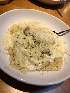 Asiago Garlic Alfredo Sauce On Angel Hair Pasta From Olive Garden