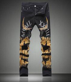 48.00$  Buy now - http://ali7tw.shopchina.info/go.php?t=32772345395 -   Fashion New  Designer Man Painting Print Jeans Fashion Slim Black Long Trousers 48.00$ #aliexpresschina