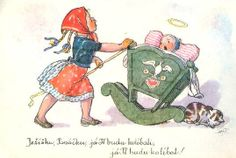 Marie Kvěchová-Fischerová 1960 Illustrator, Vintage Pictures, Young People, Childhood Memories, Christmas Cards, Disney Characters, Fictional Characters, Retro, Drawings
