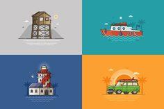 Summer Seaside Backgrounds. Vol.2 by krugli on @creativemarket