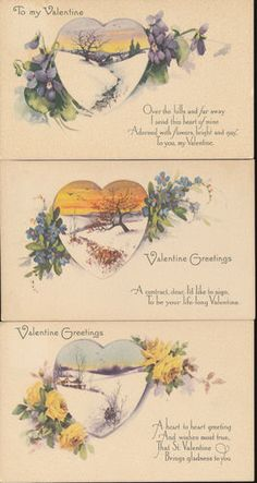 Lot of 3 Hearts with Scenes & Poems Antique Valentine's Day Postcards-bbb748