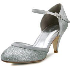 elegantpark hc1510 escarpins femme mary janes chaussures soiree de mariee mariage argent 37 - Escarpin Argent Mariage