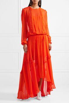 Preen Line | Martina ruffled chiffon maxi dress | NET-A-PORTER.COM