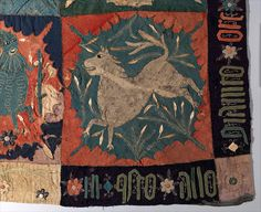 Textile Fragment with Unicorn, Deer, Centaur and Lion,ca. 1500 - Made in Scandinavia (possibly Sweden) Wool intarsia and applique with gilt leather and linen embroidery