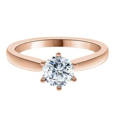 6 Claw Solitaire Engagement Ring - Round Brilliant Cut Solitaire Diamond Ring In A Six Claw Setting In Platinum,Rose Gold, White Gold Or Yellow Gold. Round Solitaire Engagement Ring, Diamond Solitaire Rings, Dublin, Zara, White Gold, Rose Gold, Diamonds, Jewelry, Polyvore