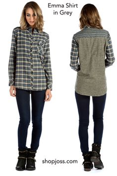 The Emma Shirt in Grey by Tolani takes the fashionable grey for fall and creates a statement. This flannel-like top in rayon makes a statement for fall.