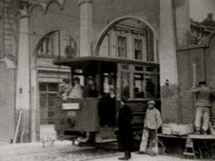 Trolley coming through the Ghetto gate  German authorities created the Kraków ghetto in 1941.  Gentiles living in the area were expelled to accommodate 17,000 Jews.  Historical Photograph