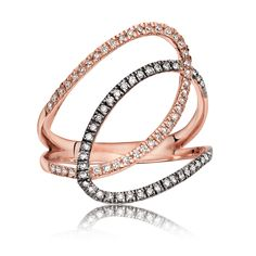 Natural Champagne Diamond Open Loop Ring