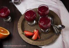 Velouté froid de betterave, fraises et orange