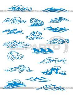 Océano o al mar las olas, olas y salpicaduras fijaron | Ilustración vectorial de stock | ID 5272765
