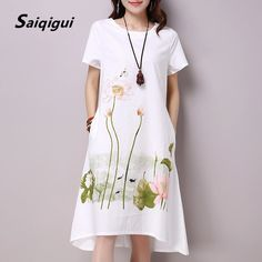 Cheap vestido de festa, Buy Quality linen dress directly from China cotton linen dress Suppliers: Saiqigui Summer Dress Plus Size Short Sleeve White Women Dress Casual Cotton Linen Dress Lotus Printing O-Neck Vestidos de Festa Enjoy ✓Free Shipping Worldwide! ✓Limited Time Sale ✓Easy Return.