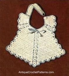 Vintage crochet baby bib- I've made this before and it is sweet.   This site also has a lot more patterns.