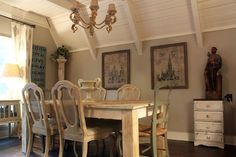 french country a frame cottage, dining room ideas, fireplaces mantels, home decor, kitchen design, living room ideas, shabby chic