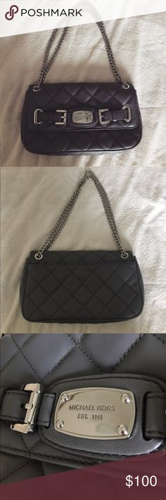 Michael Kors gray quilted shoulder bag Such a cute bag! Perfect condition, no flaws. Authentic. 11in x 6in Michael Kors Bags Shoulder Bags