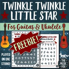 "Twinkle Twinkle Little Star - Poster or Handout for Guitar & Ukulele! This ""Twinkle Twinkle Little Star"" resource can be used as a handout or made into a poster! There are two versions of the posters/handouts - a regular version and a more minimal version (in case you don't want to use as much toner"