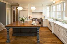 "Love the island ""table"" combination. Lake Elmo Greek Revival farmhouse, MN. Ron Brenner Architects."