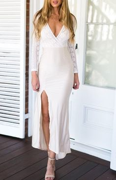 Sexy Lace Stitching Deep V Dress