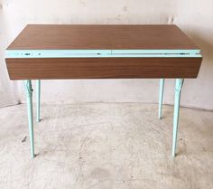 Retro Aqua and Brown Double Drop Leaf Dining Table Console $125