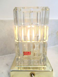 """Etched Art Deco Cube Glass Crystal Accent Table Lamp 7"""" Height - Vtg  Portugal #ArtDeco #MadeinPortugal"""