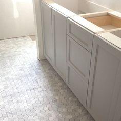 covantry gray. Love the hexagon tiles!