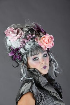purple pink and silver Victorian Rococo wig by CandyCrypt on Etsy, $225.00