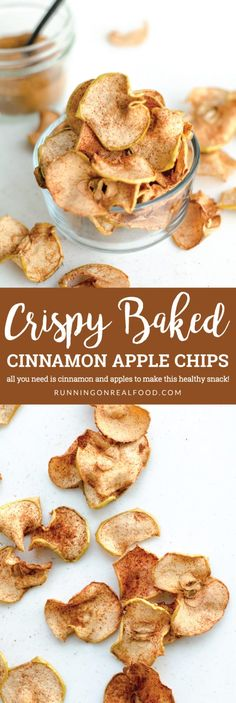 All you need is apples and cinnamon to make these Crispy Baked Cinnamon Apple Chips. These make a healthy and yummy snack option kids will love. Super easy to make, make them with our without cinnamon, great way to use up extra apples! Healthy Chips, Yummy Healthy Snacks, Easy Snacks, Healthy Baking, Yummy Food, Healthy Snack Options, Eating Healthy, Tasty, Dried Apple Chips
