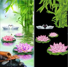 5D DIY Diamond Painting Needlework Diamond Mosaic Diamond Embroidery swan Pattern Hobbies and Crafts Home Decor Gifts flowers
