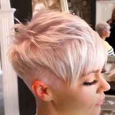 Silver gray hair color is the most popular one but you can go with different shades like almost white gray or ashy gray colors. Silver gray hair color is the most popular one but you can go with different shades like almost white gray or ashy gray colors. Short Pixie Haircuts, Short Hairstyles For Women, Braided Hairstyles, Dress Hairstyles, Pixie Bob, Hairstyle Ideas, Bob Hairstyles, Funky Short Hair, How To Curl Short Hair