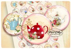 Buttons Pinback Digital Printable Images for Button machine 1.313 inch Flatback Buttons Flair Buttons Clip art Shabby Chic b97 - pinned by pin4etsy.com