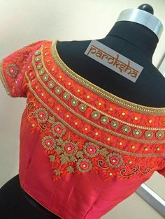 boat neck embroidery blouse - back South Indian Weddings, South Indian Bride, Telugu Wedding, Saree Wedding, Blouse Patterns, Saree Blouse Designs, Tulsi Silks, Best Wedding Makeup, Indian Wedding Planning