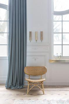 overgordijn grijs blauw , gordijnen - rideaux - curtains - Copahome raamdecoratie